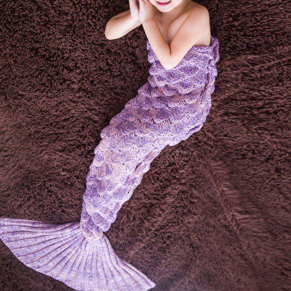 Comfortable Knitted Warmth Mermaid Blanket For KidsHOME<br><br>Color: LIGHT PURPLE; Type: Knitted; Material: Linen/Cotton; Pattern Type: Stripe; Size(L*W)(CM): 140*70; Weight: 0.490kg; Package Contents: 1 x Blanket;