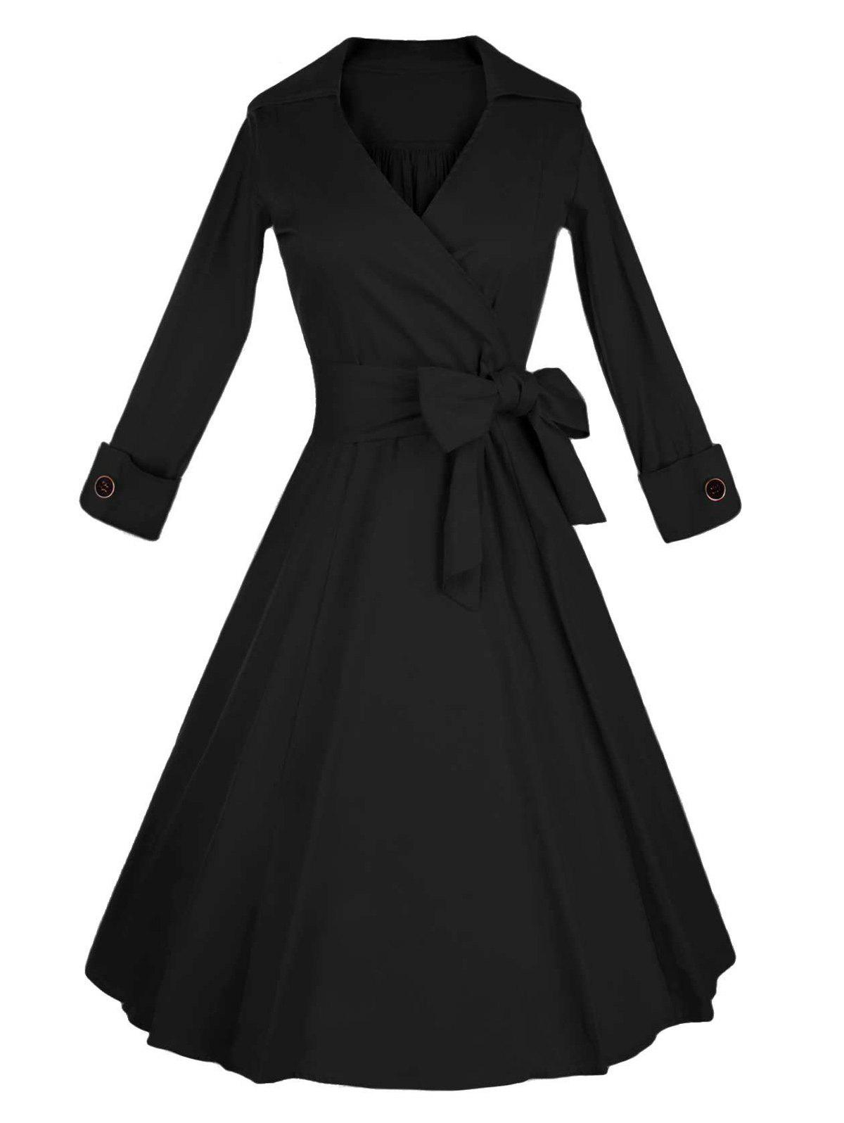 Long Sleeve Wrap Swing Midi Vintage DressWOMEN<br><br>Size: L; Color: BLACK; Style: Vintage; Material: Cotton Blend; Silhouette: A-Line; Dresses Length: Mid-Calf; Neckline: V-Neck; Sleeve Length: Long Sleeves; Pattern Type: Solid; With Belt: No; Season: Fall,Spring,Winter; Weight: 0.550kg; Package Contents: 1 x Dress;