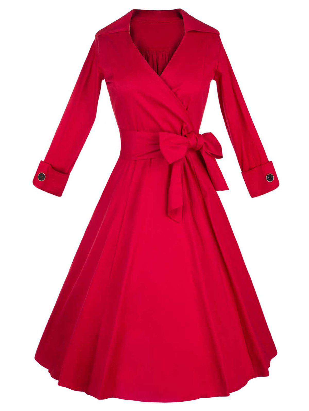 Long Sleeve Wrap Swing Midi Vintage DressWOMEN<br><br>Size: L; Color: RED; Style: Vintage; Material: Cotton Blend; Silhouette: A-Line; Dresses Length: Mid-Calf; Neckline: V-Neck; Sleeve Length: Long Sleeves; Pattern Type: Solid; With Belt: No; Season: Fall,Spring,Winter; Weight: 0.550kg; Package Contents: 1 x Dress;