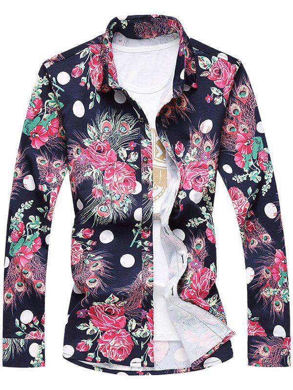 Fancy Plus Size 3D Roses and Peacock Feathers Print Turn-Down Collar Long Sleeve Shirt