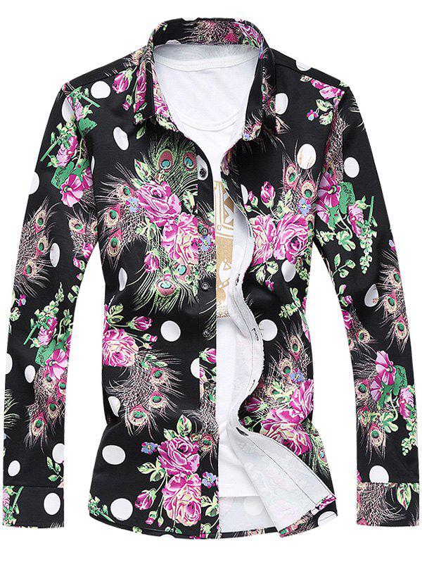 Trendy Plus Size 3D Roses and Peacock Feathers Print Turn-Down Collar Long Sleeve Shirt