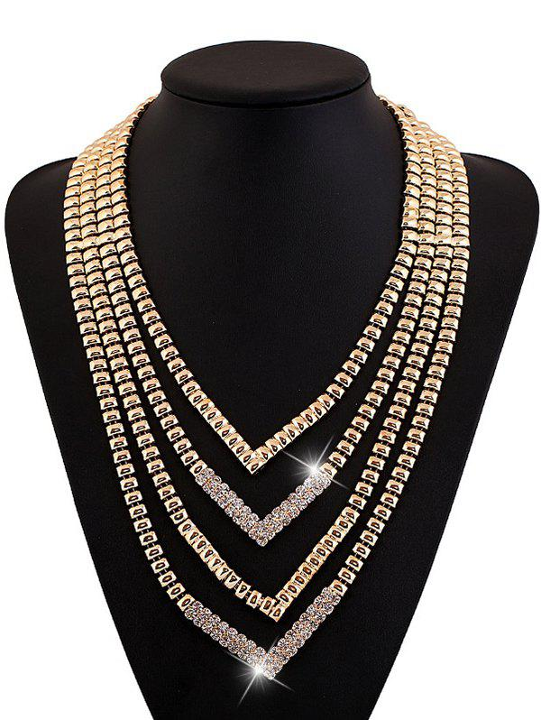 Outfit Rhinestone Alloy Layered V Shaped Necklace
