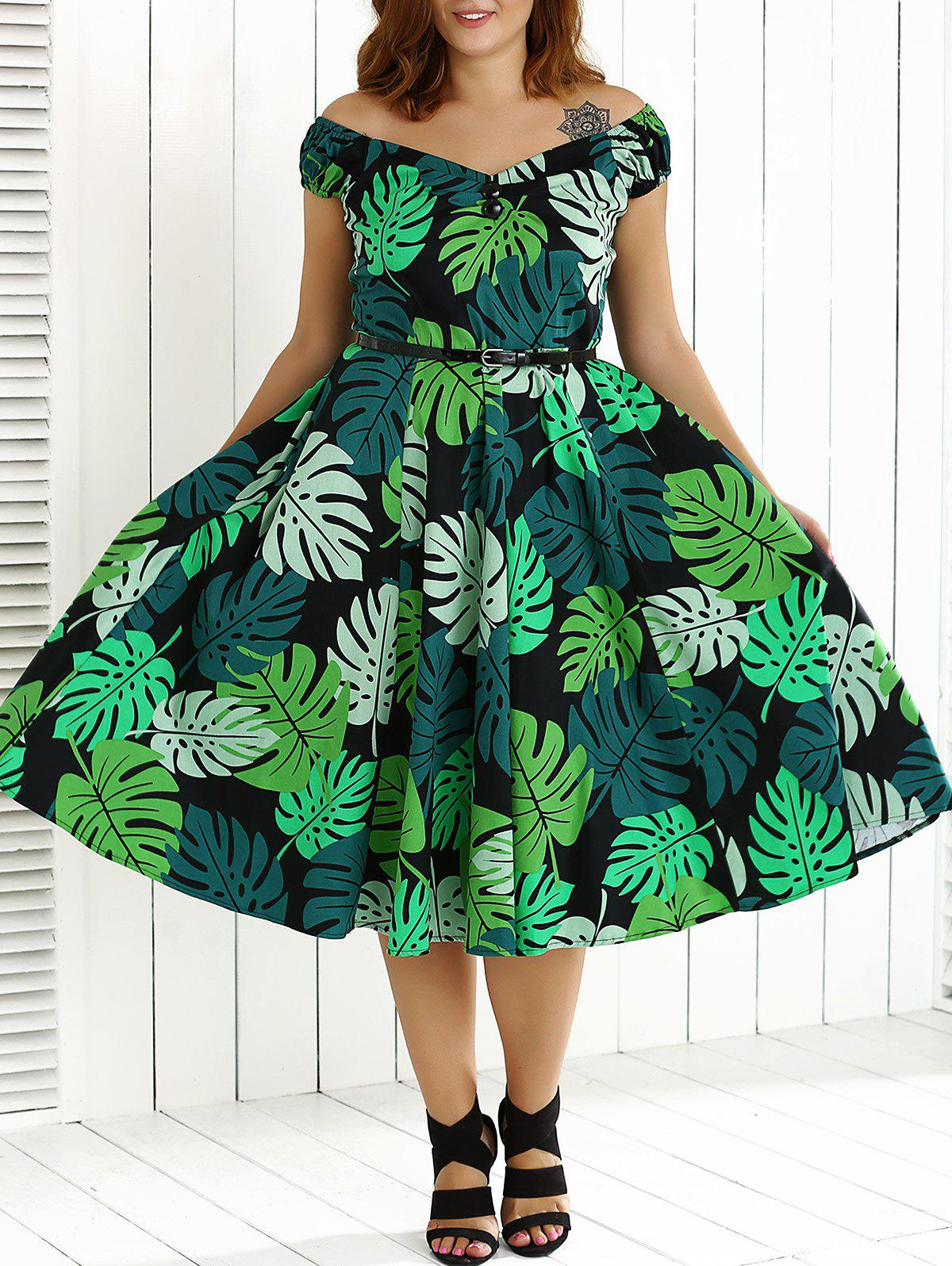 766acb05cb74 53% OFF] Plus Size Leaf Print Hawaiian Luau Pin Up Dress | Rosegal