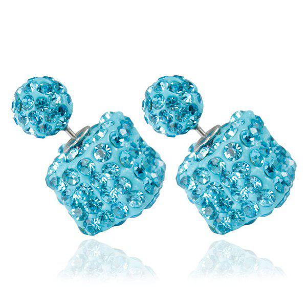Pair of Rhinestone Square Ball Dual EarringsJEWELRY<br><br>Color: LAKE BLUE; Earring Type: Stud Earrings; Gender: For Women; Material: Rhinestone; Metal Type: Alloy; Style: Trendy; Shape/Pattern: Geometric; Weight: 0.020kg; Package Contents: 1 x Earrings(Pair);