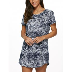 Vintage Floral Print Mini Shift Dress