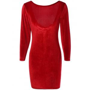 Long Sleeve Suede Backless Zippered Bodycon Dress