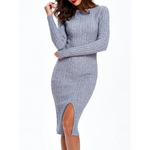 Cable Knit Long Sleeve Bodycon Sweater Dress