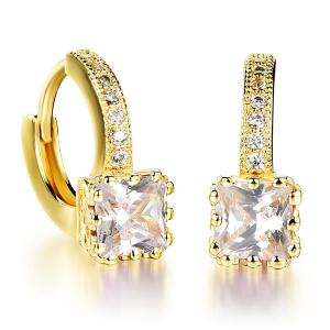 Pair of Rhinestone Square Hoop Earrings