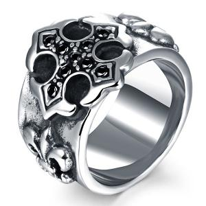 Etched Embossed Rhinestone Ring