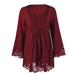 Lace Patchwork Peasant Top - Wine Red - 3xl