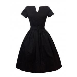 Plus Size Pleated A Line Vintage Cotton Dress