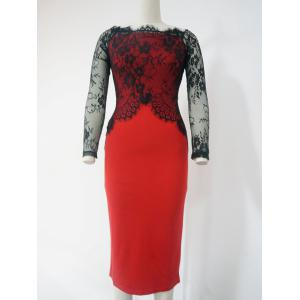 Lace See-Through Long Sleeve Pencil Dress - Red With Black - 2xl