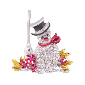 Christmas Snowman Brooch - White