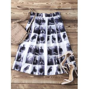 High Waist Pleated Face Print Skater Skirt
