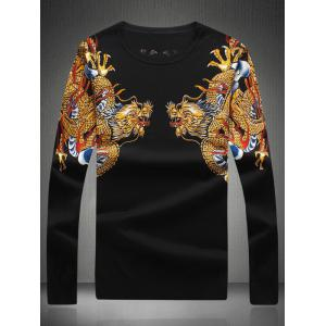 Dragon Print Rhinestone Embellished Sweater