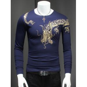 Rivet Embellished Dragon Print Long Sleeve T-Shirt