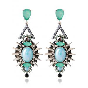 Faux Crystal Rivets Alloy Geometric Earrings - Blue