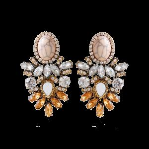 Rhinestone Alloy Faux Crystal Oval Earrings - Brown - 38