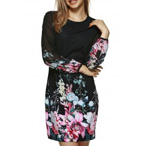 Long Sleeve Printed Floral Bodycon Dress