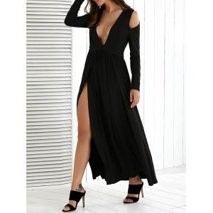 Cold Shoulder High Slit Maxi Dress with Long Sleeves