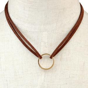 Circle Faux Leather Layered Necklace