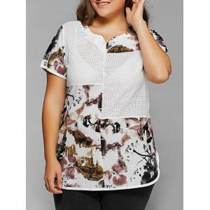 Plus Size Ink Painting Print Spliced Asymmetrical T-Shirt - White - 2xl