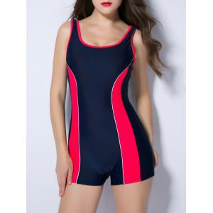 U Neck Contrast Color Spliced Backless Swimwear - Red - Xs