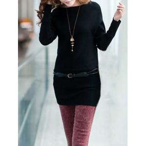 Long Sleeves Knitted Mini Dress - Black - One Size