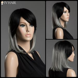 Two-Tone Ombre Straight Human Hair Medium Side Bang Capless Siv Hair Wig
