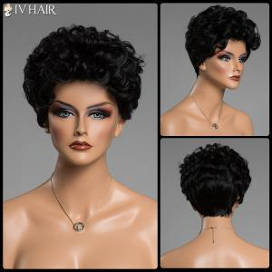 Human Hair Short Haircut Capless Fluffy Curly Siv Hair Wig - Jet Black - 18cm