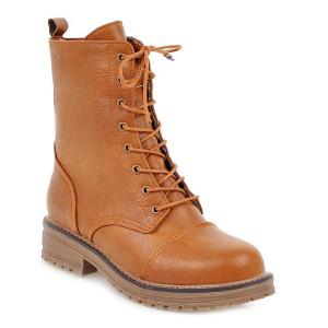 Tie Up Platform PU Leather Boots - Light Brown - 39