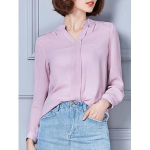 V-Neck Loose-Fitting Chiffon Blouse
