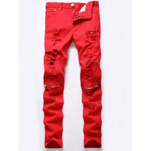 Five-Pocket Rivet Embellished Ripped Zip Knee Jeans - Red - 34