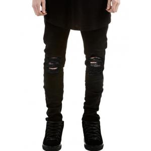 Zipper Fly Frayed Skinny Ripped Jeans - Black - 36
