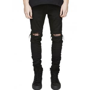 Knee Holes Frayed Zipper Fly Narrow Feet Ripped Jeans - Black - 34