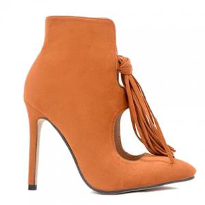 Tassels Stiletto Heel Hollow Out Ankle Boots - Light Brown - 38