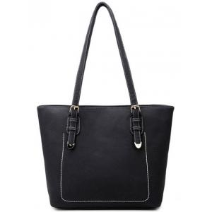 Textured PU Buckles Stitching Shoulder Bag