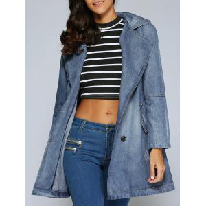 Double-Breasted Pocket Design Letter Print Coat - Denim Blue - 2xl