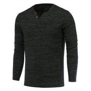 Buttons Embellished V-Neck Long Sleeve T-Shirt