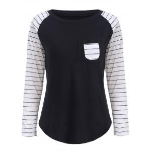 Preppy Color Block Stripe Scoop Neck Sweatshirt - Black - Xl