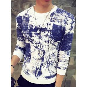 Abstract Painting Print Round Neck Long Sleeve Sweatshirt - Blue - M