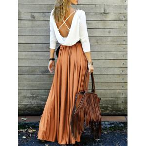 Long Sleeve Backless Maxi Pleated Flowy Dress - Orange - L