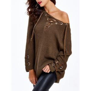Lace Up Criss-Cross Long Sweater - CHOCOLATE ONE SIZE