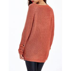 Lace Up Criss-Cross Long Sweater - RED BROWN ONE SIZE