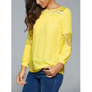 Lace Spliced Long Sleeve Blouse -