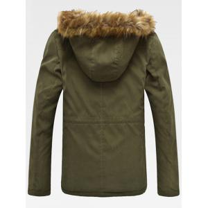 Drawstring Zippered Long Sleeve Fur Hooded Sherpa Coat - ARMY GREEN 4XL