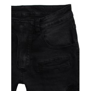 Zipper Embellished Spliced Five-Pocket Straight Leg Jeans - BLACK 38