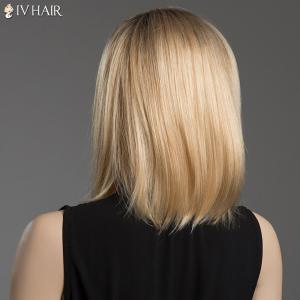 Sparkle Medium Side Parting Human Hair Capless Straight Ombre Color Siv Hair Wig -