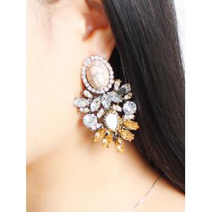 Rhinestone Alloy Faux Crystal Oval Earrings - BROWN