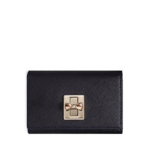 Leather Rhniestone Bow Small Wallet - Black